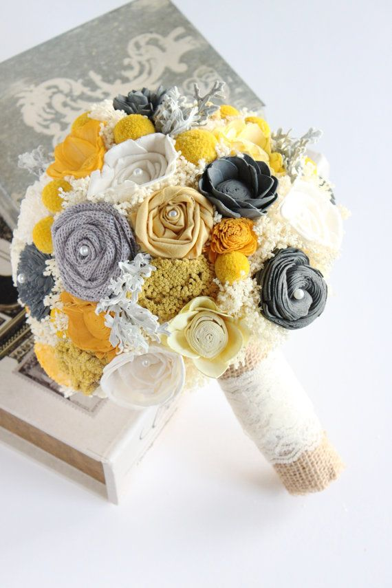 yellow, mustard and gray sola flower bouquet by Carolina Rosa Designs
