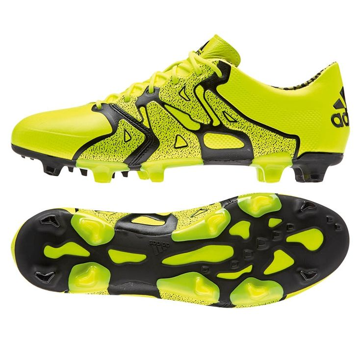 Adidas X 15.1 FG/AG (Leather) Soccer Cleats (Solar Yellow/Black)