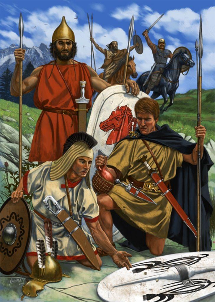 Mercenarios y aliados del ejército cartaginés. Celtíbero o lusitano, ibero y aliado libio. Ilustración Johnny Shumate.