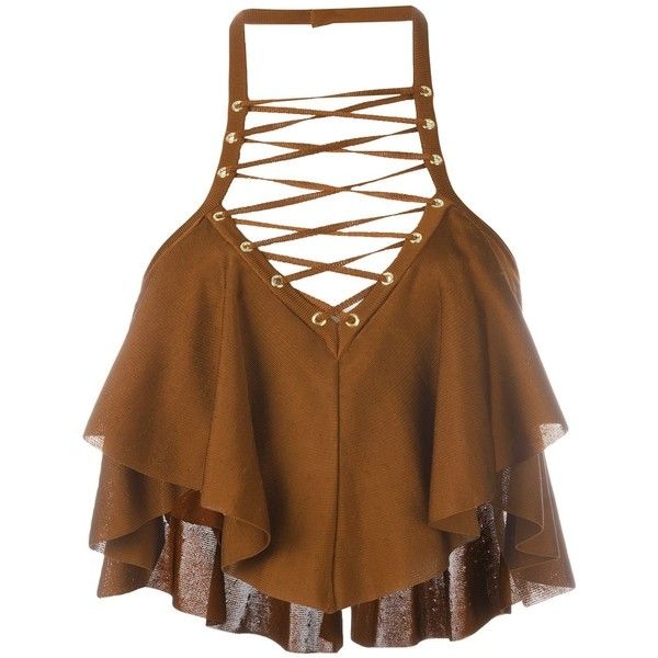 Balmain cropped top (€1.255) ❤ liked on Polyvore featuring tops, balmain, brown, brown sleeveless top, ruffle halter top, crop top, halter top and flutter-sleeve top