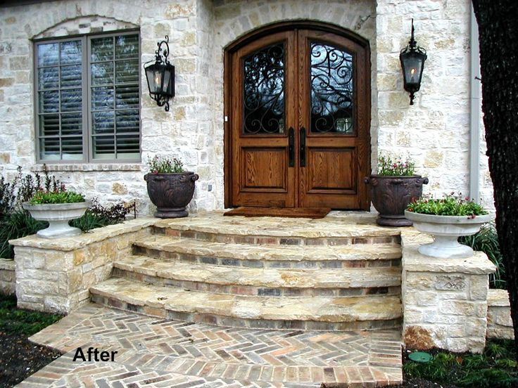 Front steps outdoors pinterest the doors front for Exterior stone stairs design