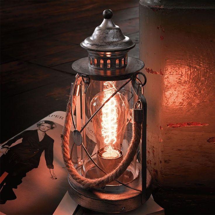 LICHT TREND Company Retro Tischlampe 33 Cm Schwarz Vintage Tischleuchte In