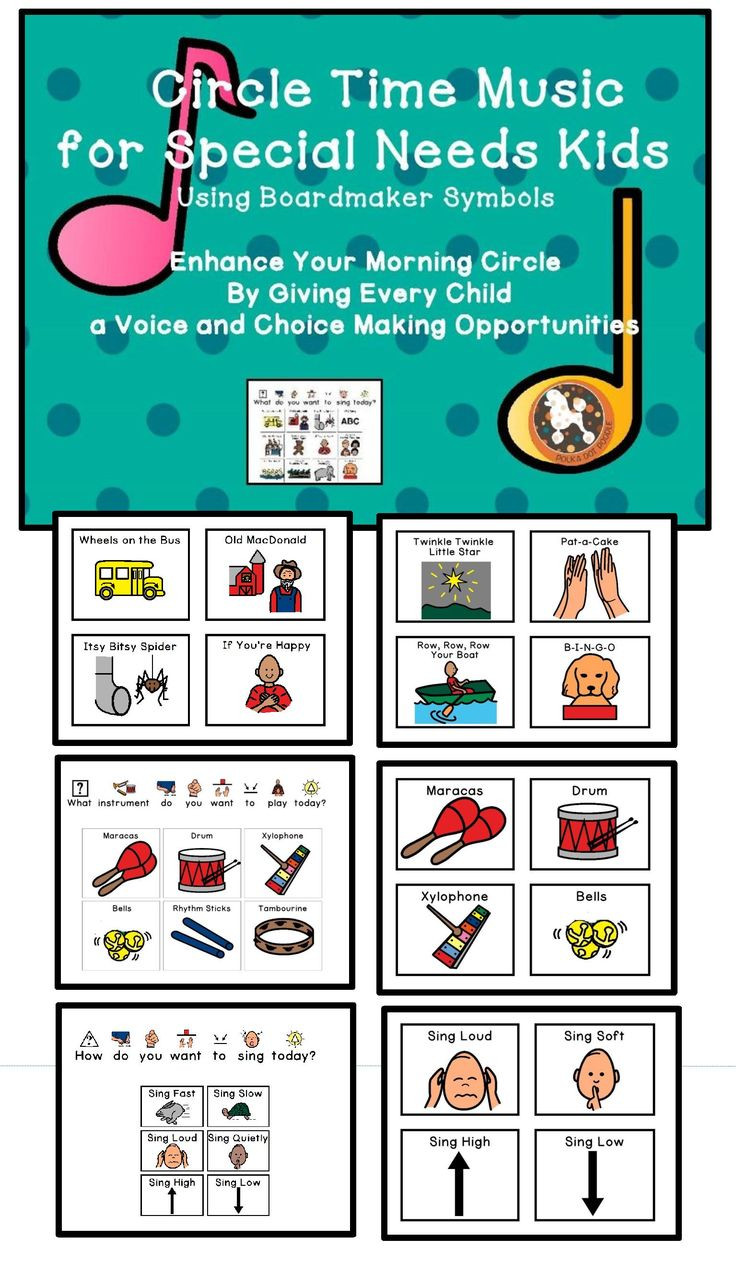 Children with autism and other special needs respond positively to music and rhythmic activities. They can actively participate by choosing the song, the instrument, and most fun of all...how they want the song to sound. Included are communication boards and individual picture symbols.