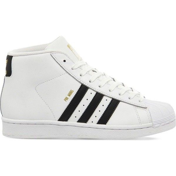 ADIDAS Pro model leather high-top trainers found on Polyvore featuring shoes, sneakers, white black, adidas high tops, adidas footwear, lace up sneakers, adidas trainers and lace up high top sneakers