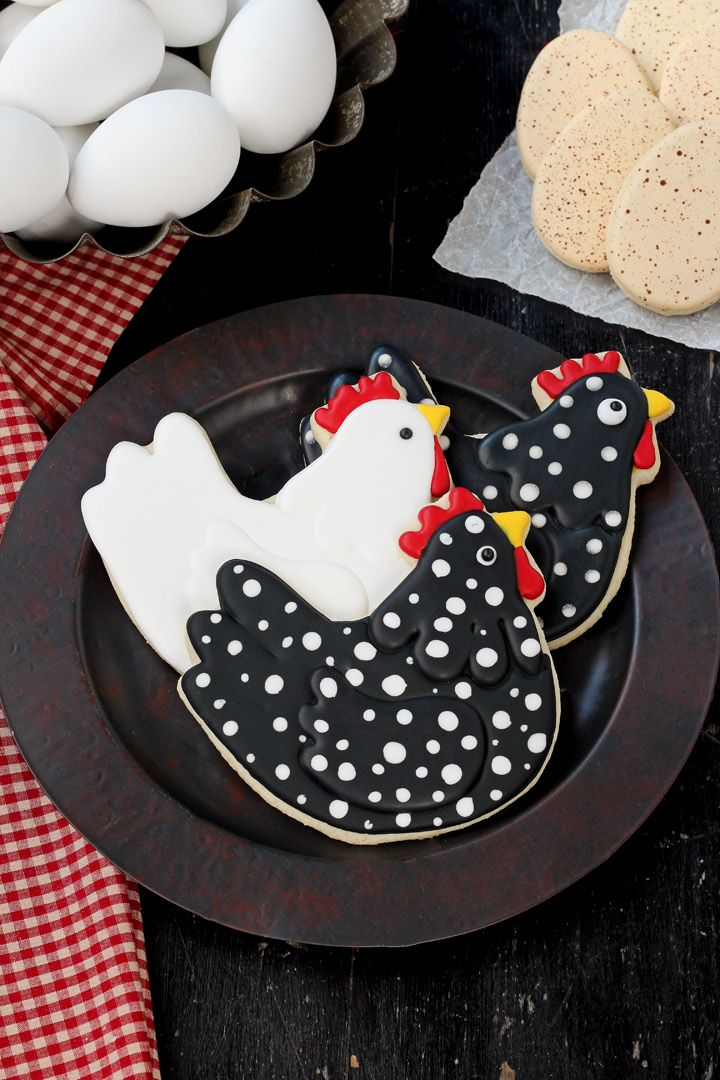 Chicken cookies are sugar cookies decorated with royal icing. Follow this step by step tutorial and how to video to make your own little chicken cookies.