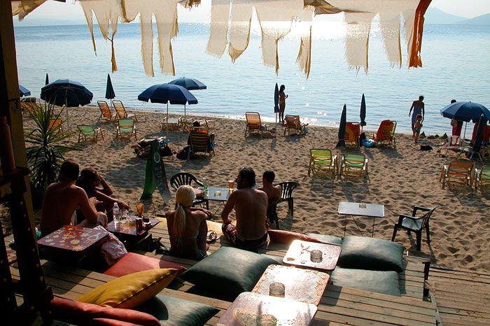 Banana Beach bar, Skiathos, Greece