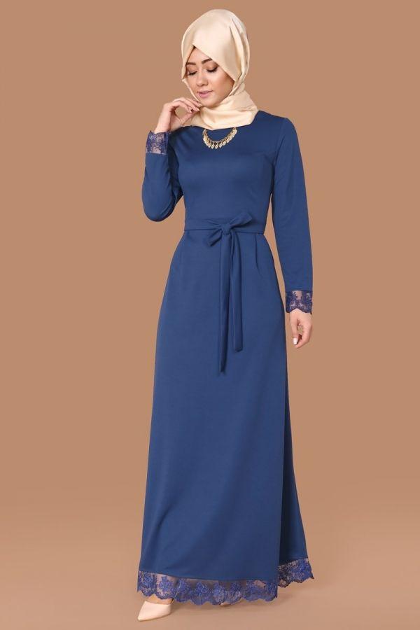 Açelya Dantel Detay Elbise İndigo Ürün kodu: MSW8103 --> 79.90 TL
