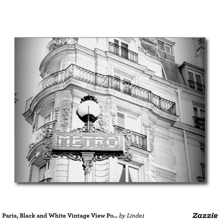 Paris, Black and White Vintage View Post-Card Postcard