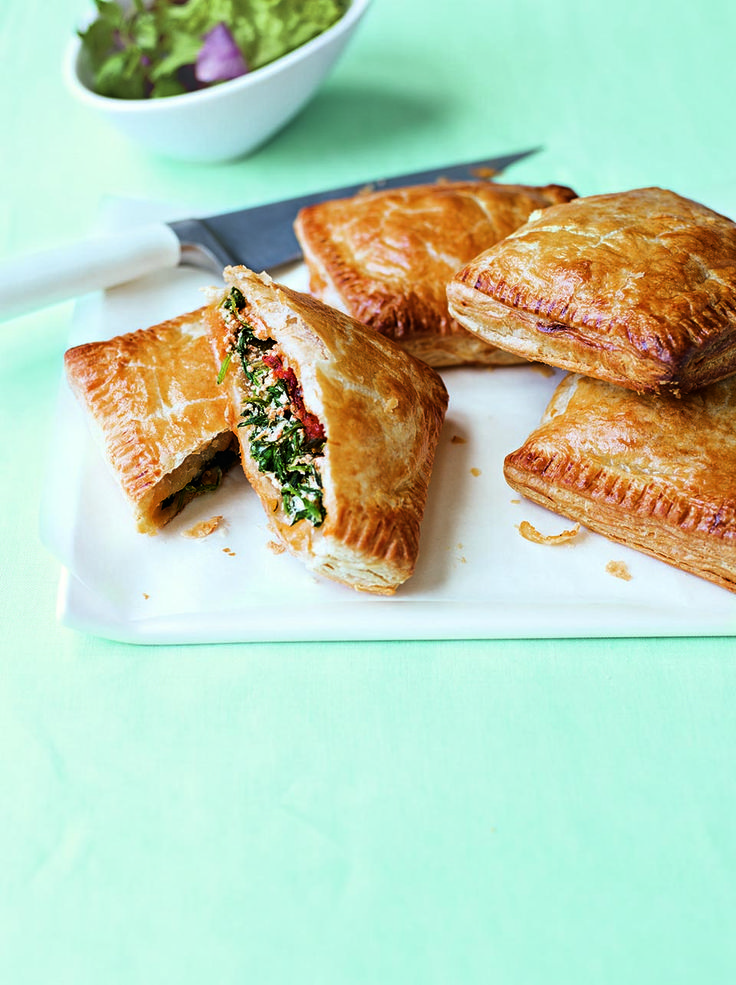 These vegetarian pasties are ideal snacks or picnic food – for a meaty version, add diced cooked chicken to the mix.