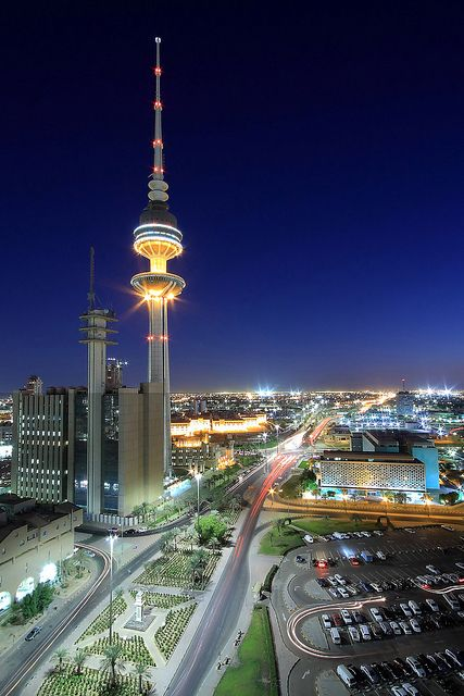 Originally intended to be The Kuwait Telecommunications Tower, construction of the tower commenced before the Iraqi invasion of Kuwait on August 2, 1990. When the invasion took place, construction, which was almost half-way complete, was put on hold. However, the structure received no damage, and construction resumed after Iraqi forces were expelled on February 27, 1991. Upon completion in 1993, the tower was renamed the Liberation Tower, symbolizing Kuwait's liberation from Iraq. (V)