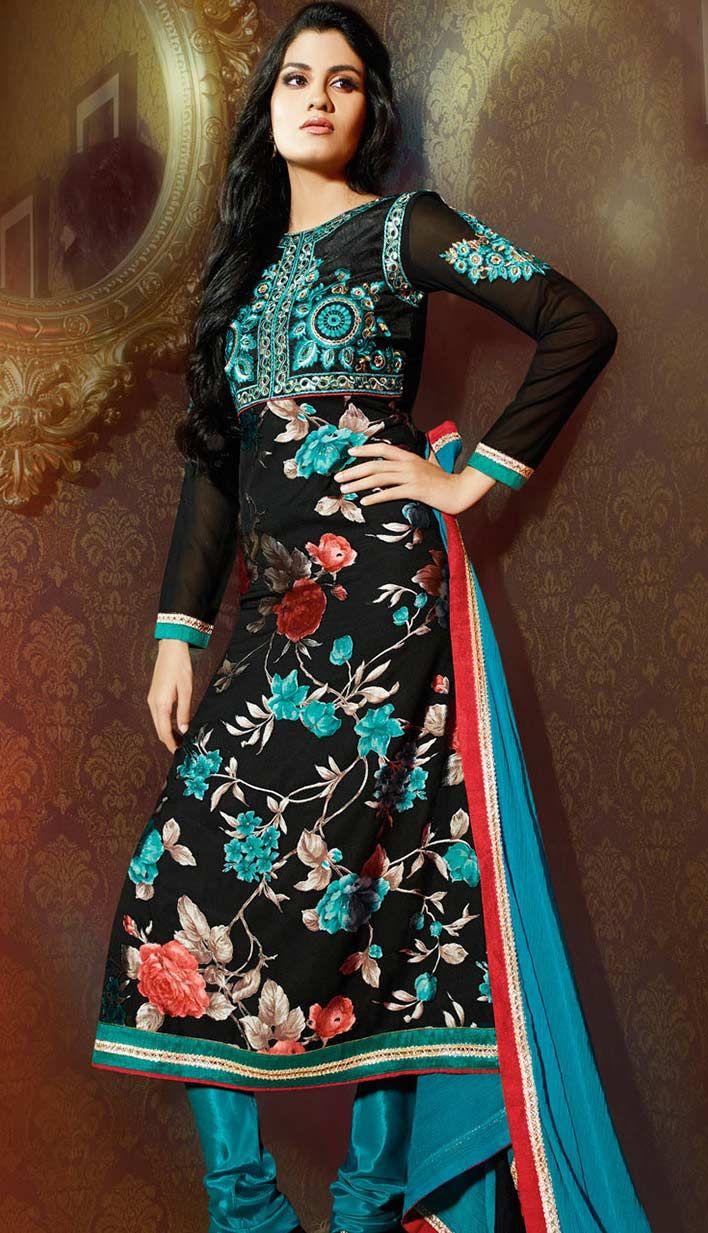 Get Fashionable Beautiful Latest Black Georgette Brasso #PakistaniDresses Online   #Price INR- 3265 Link- http://alturl.com/tvbzo