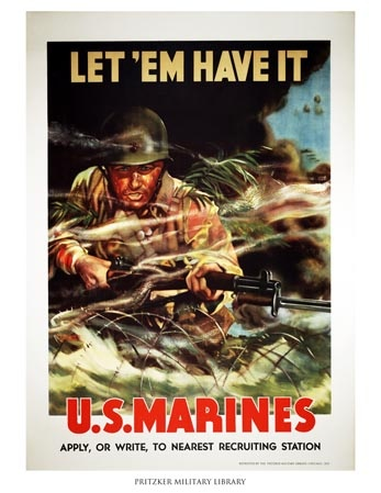 This Marines recruiting poster was created by Vic Guinness, who was a captain in the Marines. It was not uncommon to find officers working as artists for their branch during World War II, mostly by creating recruiting posters or illustrating branch literature. The bright colors used in this poster are quite a contrast from the muted tones popular on World War I posters. Pritzker Military Library | Let 'Em Have It - U.S. Marines