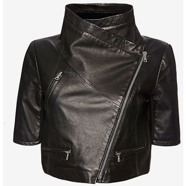 Yigal Azrouel Short Sleeve Crop Leather Jacket: Black (10.760 DKK) ❤ liked on Polyvore featuring outerwear, jackets, coats, tops, black, genuine leather jacket, zipper leather jacket, short sleeve crop jacket, black cropped jacket and short sleeve leather jacket
