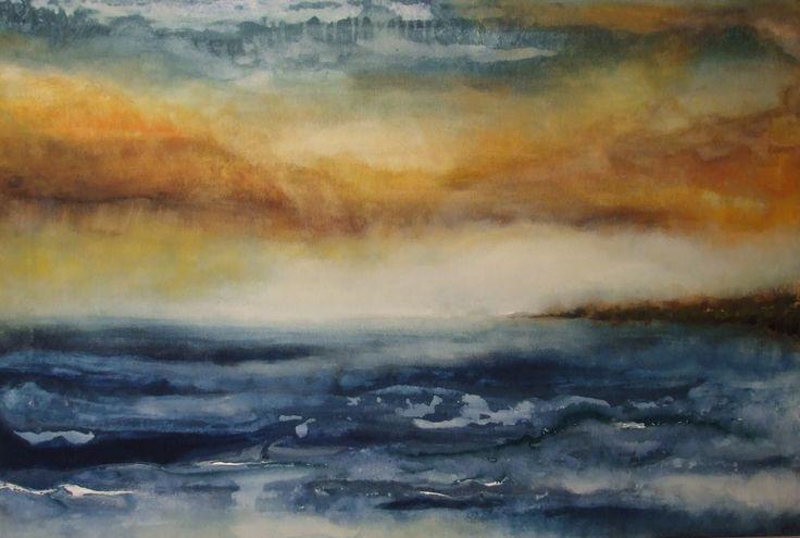 TITRE : Vues de nos ailleurs   //   Peinture acrylique sur toile  La mer, les vagues, le vent, ciel jaune, flots bleus, tempête,