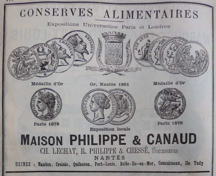 Nantes. Publicité Maison Philippe & Canaud conserves alimentaires. 1882.