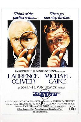 1972 MICHAEL CAINE LAURENCE OLIVIER Sleuth Movie Poster CRIME drama 24X36 Brand New. 24x36 inches. Will ship in a tube. - Multiple item purchases are combined the next day and get a discount for domes