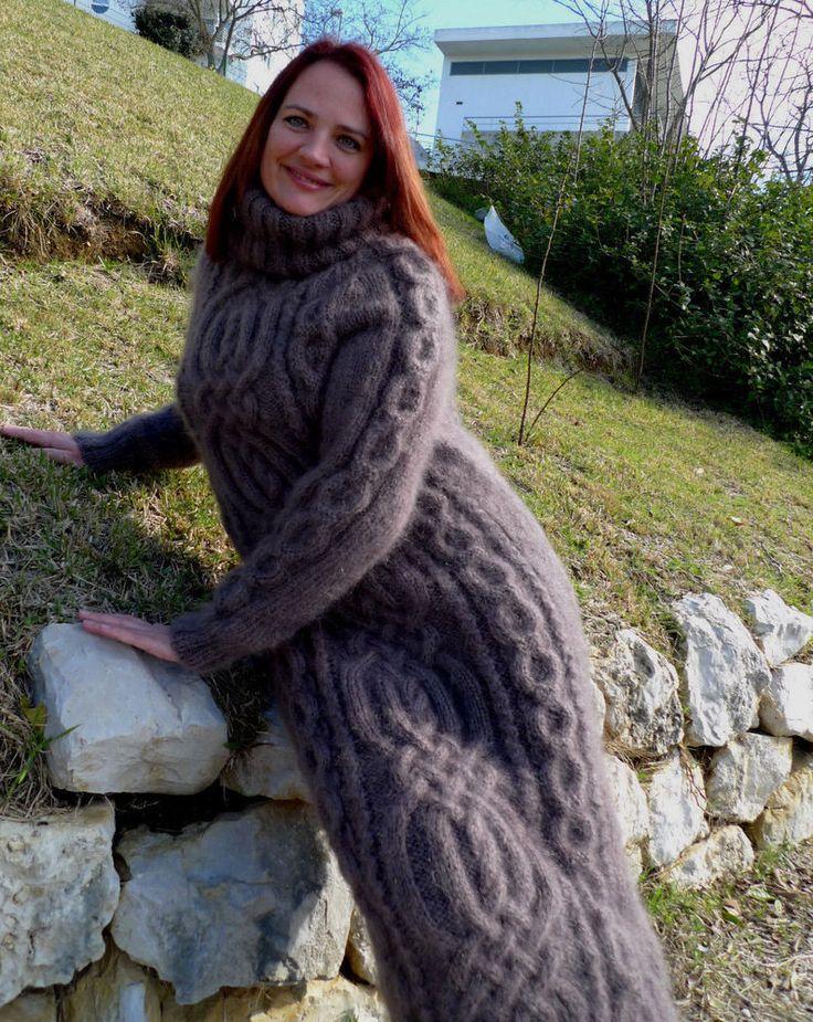 Exclusive Hand Knitted Longhair Mohair Sweater Dress Turtleneck LanaKnittings #Handmade #TurtleneckMock