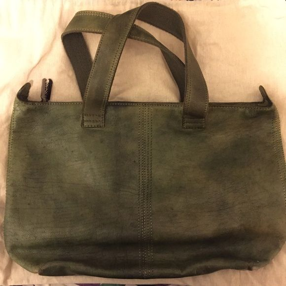 Diesel tote Diesel Green distressed leather W19 H13 Overall H22 Arm height 9  d6 Diesel Bags Totes