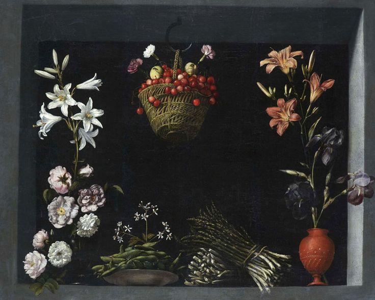 Sánchez Cotán, Bodegon flores hortalizas cesto cerezas