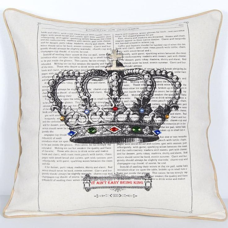 Royal Crown Jewels Cushion - Vista Blinds It Ain't Easy Being King Printed and Piped faux linen canvas look cushion. 43cm x 43cm.