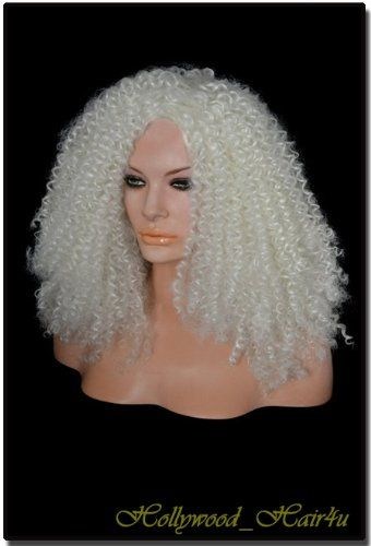 Hollywood_hair4u - Long Extra Curly Afro Style 1001 White Platinum Blond Wig Kanekalon Heat Resistant Synthetic Fiber Wig  ---See more at http://www.hair-colour-ideas.commissionblast.com