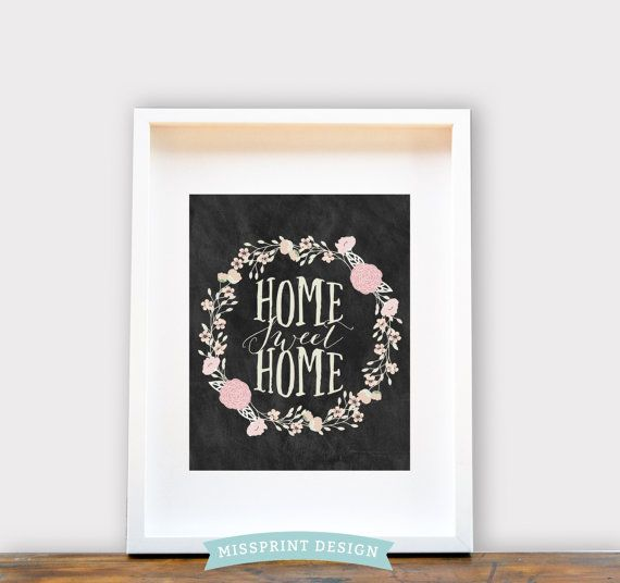 Home Sweet Home Floral Wreath. Wall Art 8x10 by missprintdesign, $18.00