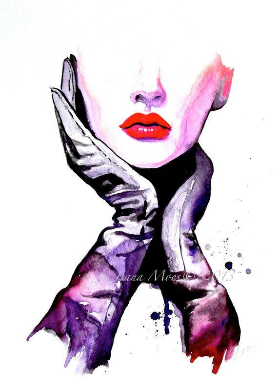 Fashion Watercolor Art Print Fashion Illustration por LanasArt