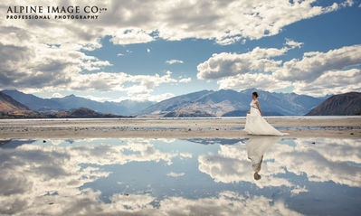 Wow look at the reflections! Queenstown wedding photography. Wanaka wedding photography. We are the most highly awarded wedding studio in Queenstown and Wanaka, Central Otago, New Zealand.