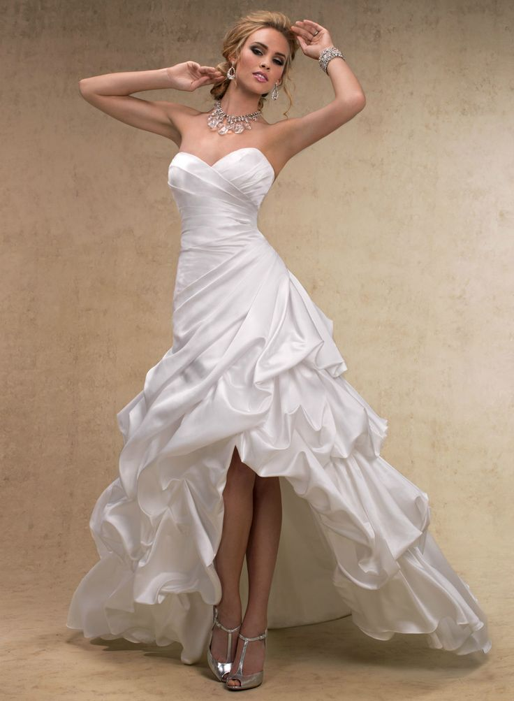 Maggie sottero a line wedding dresses high low wedding for Maggie sottero short wedding dress