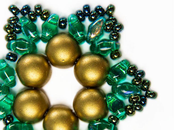 "Exclusive beading Kit for making two jewelry DIY ""Snowflake"" (Gold-Green)Decoration ""Snowflake"" diy-jewelry-beading-kit/dekoration-snowflake #scarabeads #galinacheremisina #beads #handmade #diy  #tutorial #fashion #style #gifts #snowflakes #newyear #beading #beadedjewelry #бисер #новыйгод #бисероплетение #бисероплетениедляначинающих  #бусины #снежинка #украшения #елочныеигрушки #елочнаяигрушка"