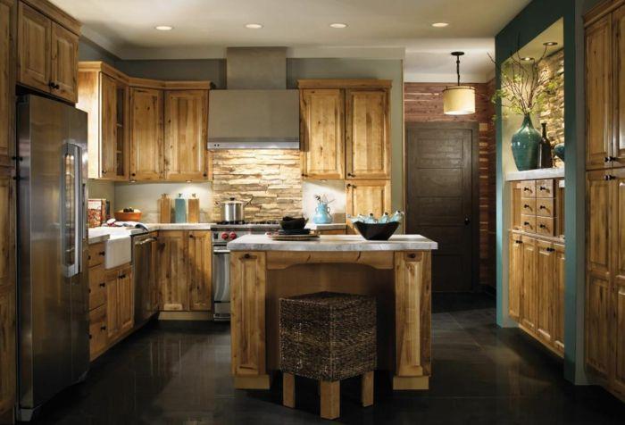 Möbel landhausstil holzschränke kücheninsel küche einrichten ...