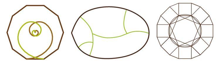 Imagen 14 de 17 de la galería de Diseños Biológicos: una arquitectura en armonía con el ser humano y su entorno natural. Figura 9. Esquemas conceptuales de las geometrías de los proyectos de vivienda. De izquierda a derecha tenemos la vivienda C&D (espirales de Oro inscritas en el decágono), la vivienda Z&J (sinusoides inscritas en una línea curva derivada del análisis de una hoja) y vivienda JL&A (octógono inscrito en un 16-avos)