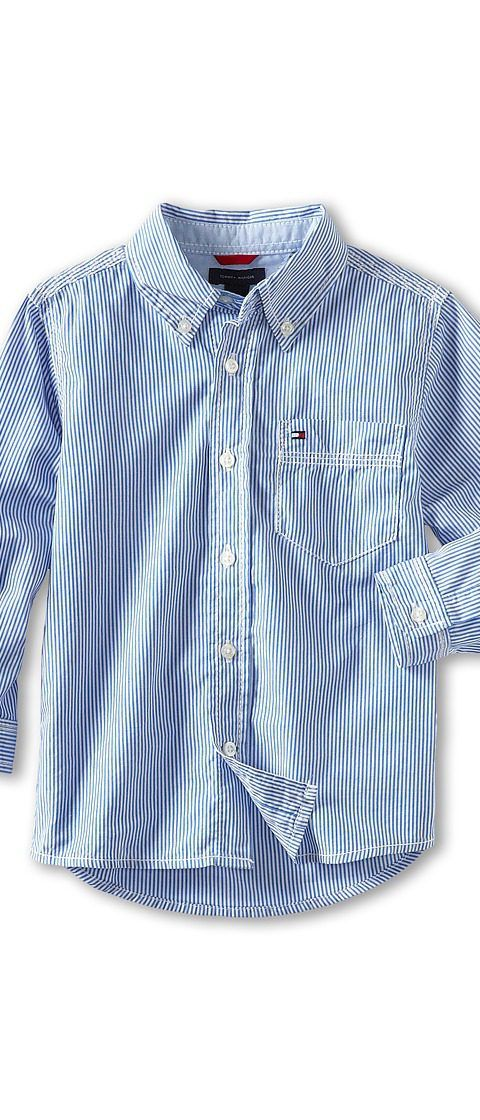 Tommy Hilfiger Kids Tommy Stripe Shirt (Toddler/Little Kids) (Strong Blue) Boy's Long Sleeve Button Up - Tommy Hilfiger Kids, Tommy Stripe Shirt (Toddler/Little Kids), T374037-417, Apparel Top Long Sleeve Button Up, Long Sleeve Button Up, Top, Apparel, Clothes Clothing, Gift, - Street Fashion And Style Ideas