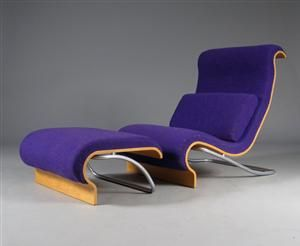 Lauritz.com - Furniture - Jørn Utzon. Hvilestol samt skammel (2) - DK, Aarhus, Egå Havvej