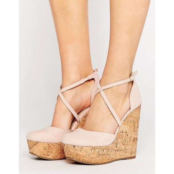 ASOS ORCHARD Wedges (£42) ❤ liked on Polyvore featuring shoes, sandals, beige, asos shoes, strappy shoes, strappy wedge sandals, wedge shoes and wedge heel shoes