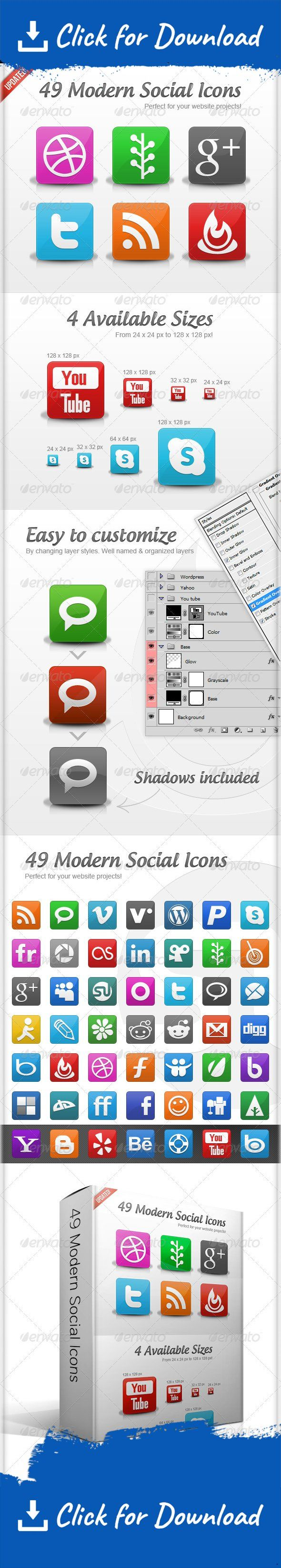 blogger, delicious, digg, facebook, flickr, lastfm, linkedin, media, media icons, myspace, network, network icons, networking, networking icons, rss, skype, social, social icons, social media, social network, social networking, stumbleupon, tumblr, twitter, vimeo, web, web icons, www, youtube    This is a pack of 49 social icons great for modern websites. All icons are easy to edit, customize and resize, because of VECTOR SHAPES and very well organized layers.   Included sizes: 24×24...