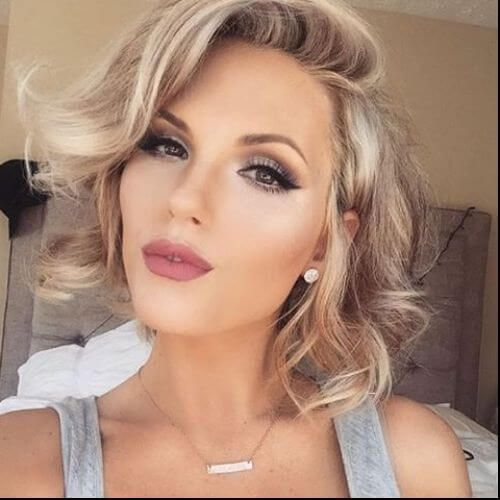 Blonde Wavy Hair Short Hairstyles For Curly Beauty And Make Up In 2018 Wedding Makeup