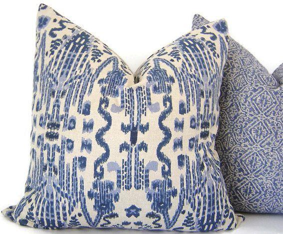 Blue Ikat Pillow  Decorative Pillow  Mumbai by CaliforniaLivinHome