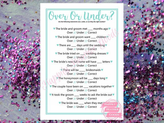 TITLE: over or under ; are we over or under the right number DESCRIPTION: printable game for a bridal shower in robin egg blue with a cursive font; one game per page; this template is also perfect for teal bridal shower games and turquoise bridal shower games  Your download will