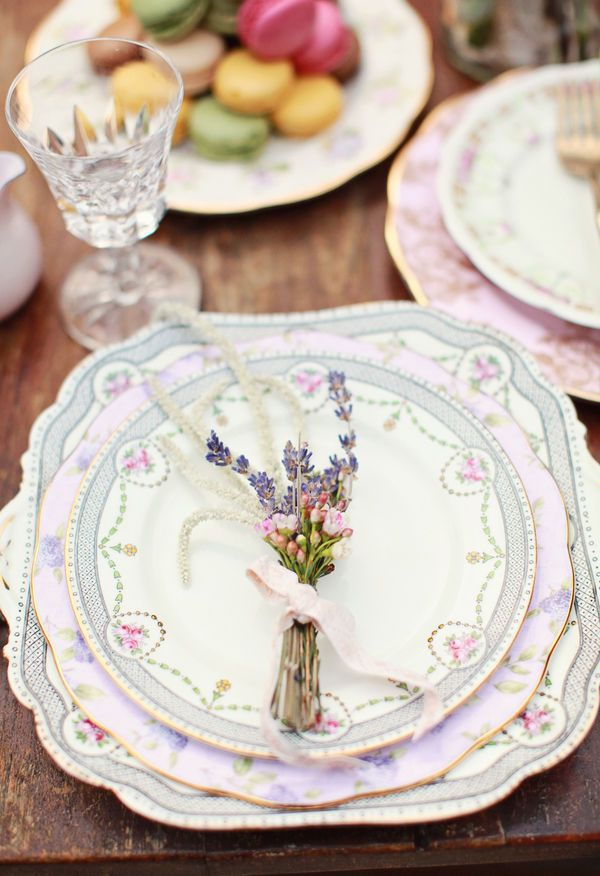 Using mismatched china at each place setting is a pretty detail for a vintage wedding. If this is a style that you love even in your own home, consider shopping estate and thrift sales and creating a collection. Use it for your reception and then for special occasions and holidays.