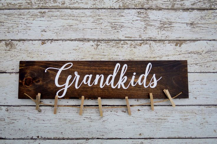 Grandkids sign picture holder, grandkids make life grand, grandparents picture frame, home decor by RedHeartCreations on Etsy