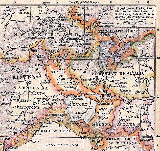 map of northern italy 1796; lucca, modena, mantua, genoa, san marino, venice, oneglia