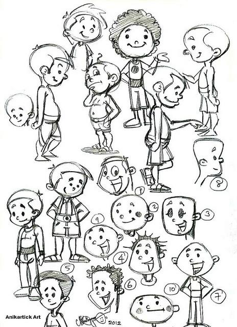 Cartoon Boys Different Heads and poses - Artist Anikartick,anikartick.blogspot.com by Chennaiart, via Flickr