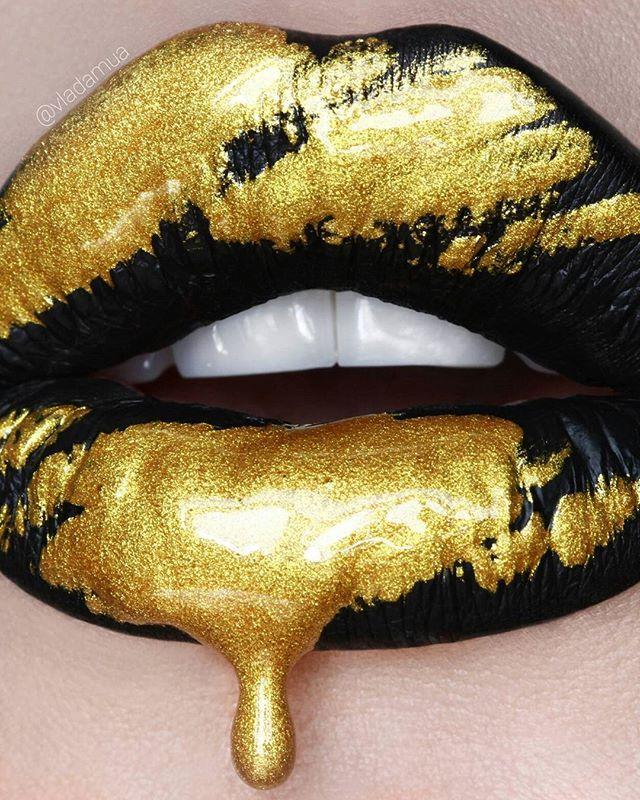 Black and Molten Gold Lip Art
