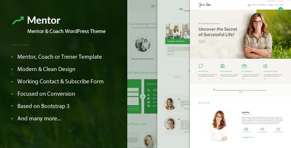Mentor – Personal Development Coach WordPress Theme – current version 2.1.2 available for download!       Mentor is beautiful WordPress theme mainly suitable for mentors who offer personal developm...