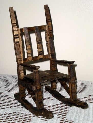 Clothespin rocking chair. Made these as a kid.