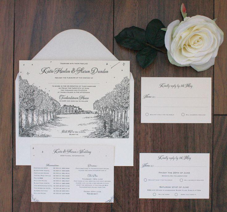 Letterpress venue illstration wedding invitation