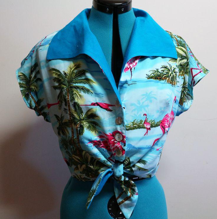 Retro tie front Flamingo top