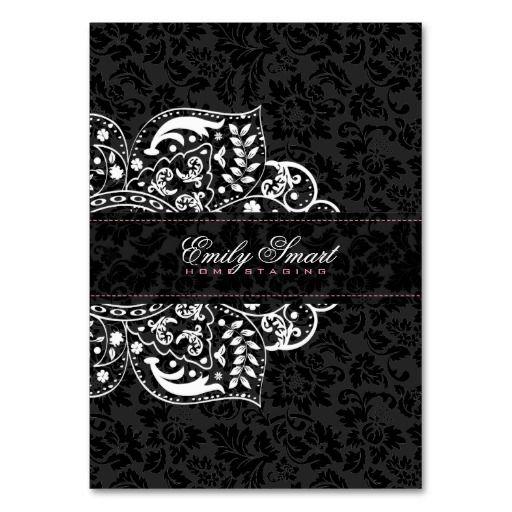 Elegant Black Damasks White Floral Ornament 3 Business Card Templates