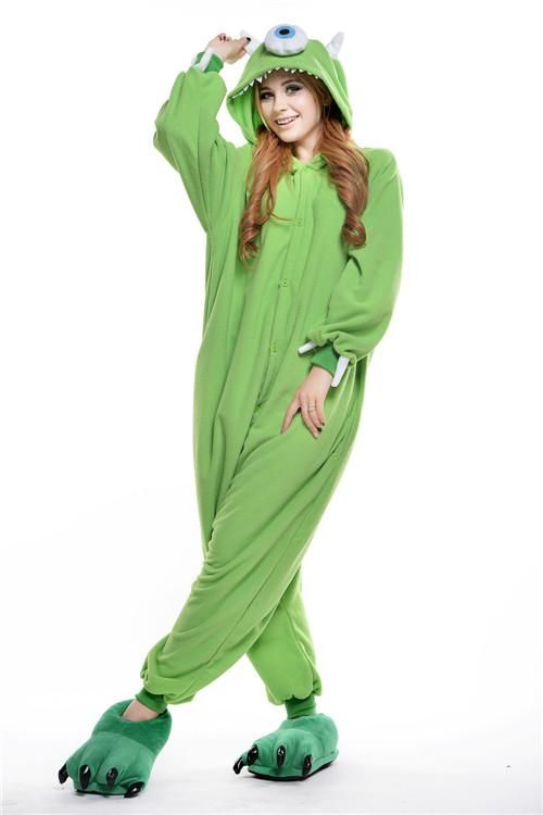 662768ad38 Green One Eyed Monster Animal Onesies Halloween Pajamas Costume ...